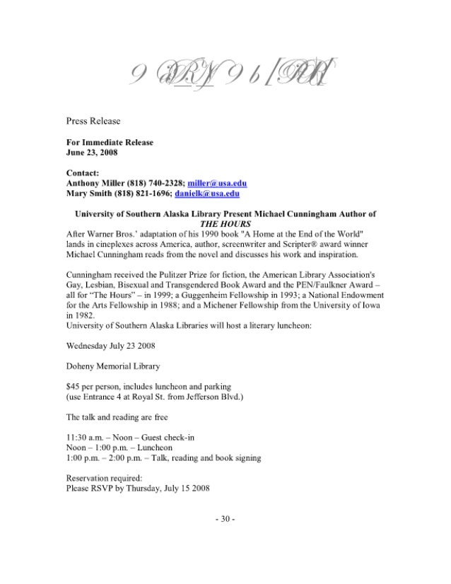 0  A / W/I  Press Release  For Immediate Release June 23. 2008  Contact:  Anthony Miller (818) 740-2328; m  flg[Qr; gs_mggl...