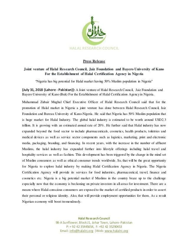 Press Release Halal Certification