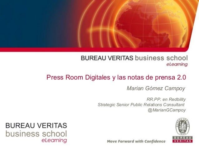 Press Room Digitales y las notas de prensa 2.0 Marian Gómez Campoy RR.PP. en Redbility Strategic Senior Public Relations C...