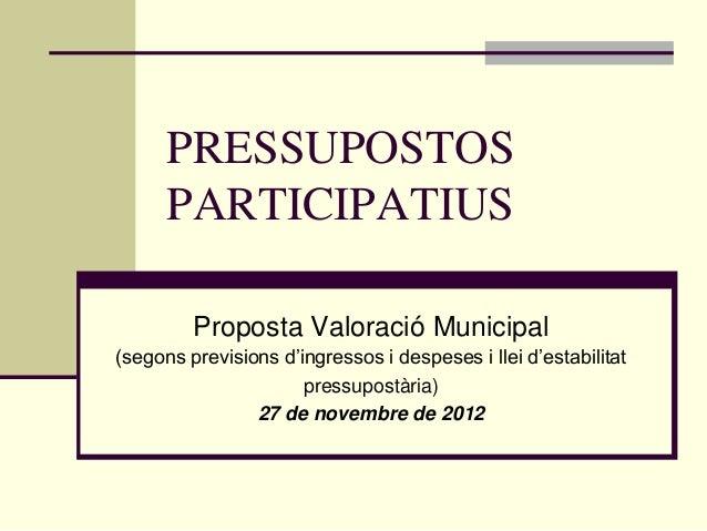 PRESSUPOSTOS      PARTICIPATIUS         Proposta Valoració Municipal(segons previsions d'ingressos i despeses i llei d'est...