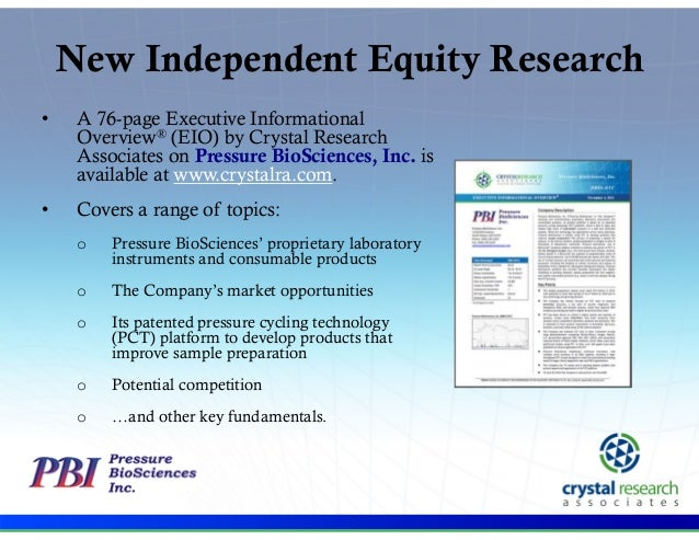New Independent Equity Research •  A 76-page Executive Informational Overview® (EIO) by Crystal Research Associates on Pre...