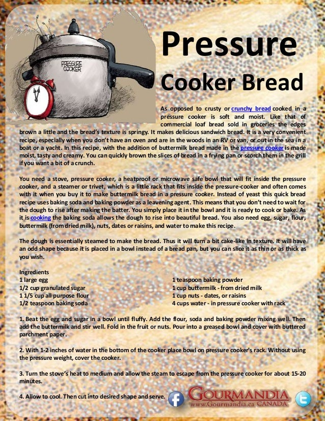 how to make bread at home in pressure cooker