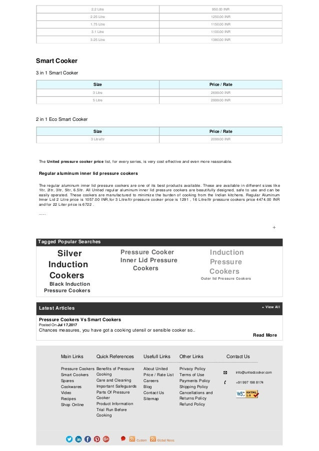 cc809d68807 United Pressure Cookers Price List   Rate List