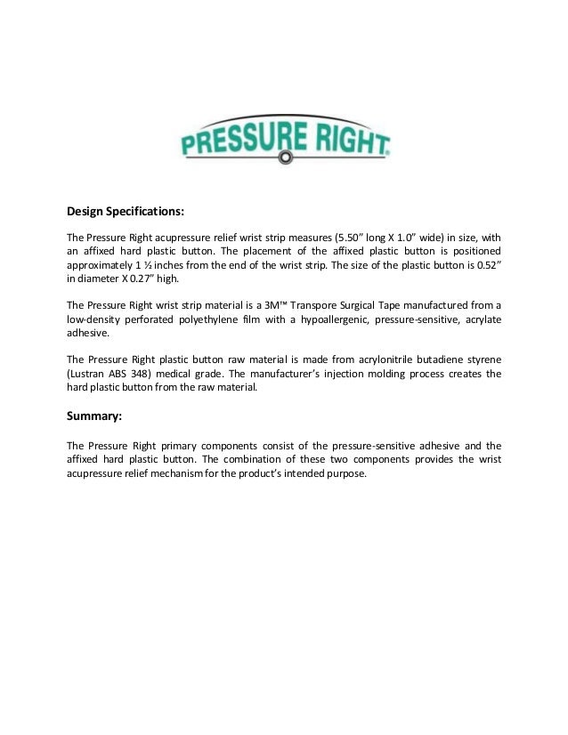 """Design Specifications: The Pressure Right acupressure relief wrist strip measures (5.50"""" long X 1.0"""" wide) in size, with a..."""
