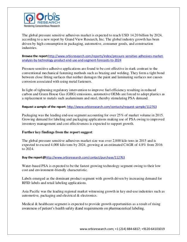 Pressure sensitive adhesives market by 2024 Slide 2
