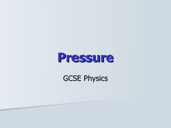 Pressure GCSE Physics
