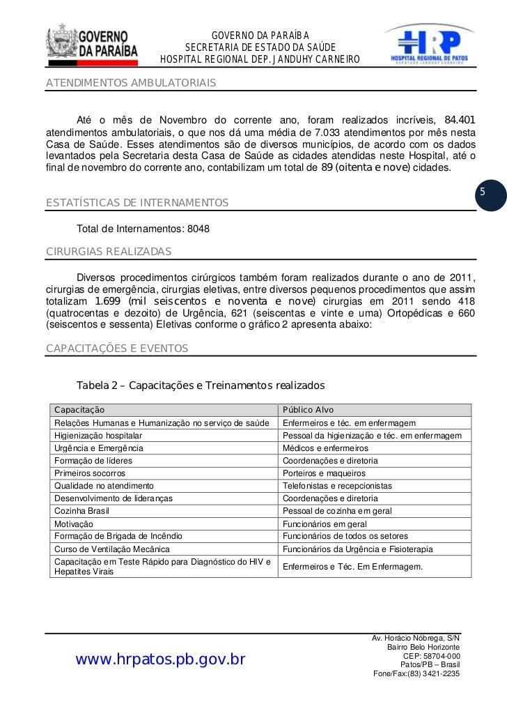 GOVERNO DA PARAÍBA                               SECRETARIA DE ESTADO DA SAÚDE                          HOSPITAL REGIONAL ...