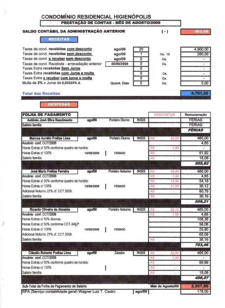 Prestação de Contas - Agosto 2009