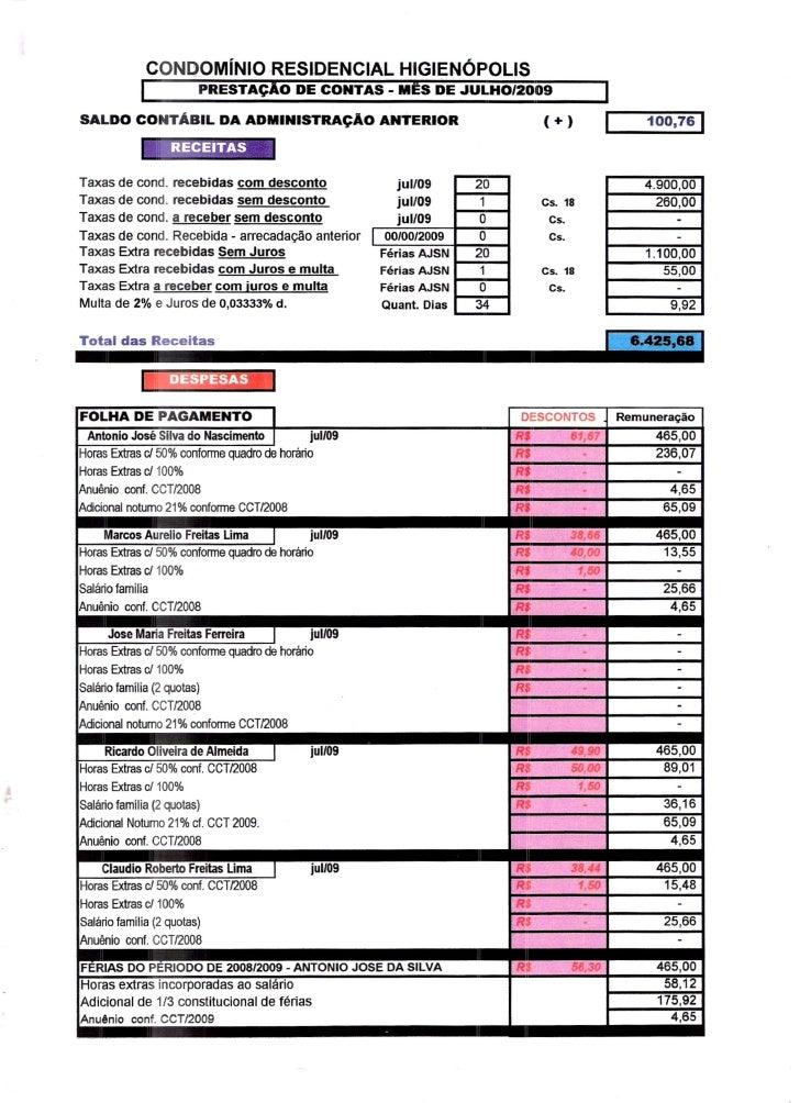 Prestação de Contas - Julho 2009
