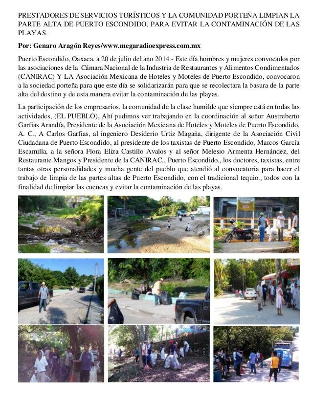 PRESTADORES DE SERVICIOS TURÍSTICOS Y LA COMUNIDAD PORTEÑA LIMPIAN LA PARTE ALTA DE PUERTO ESCONDIDO, PARA EVITAR LA CONTA...