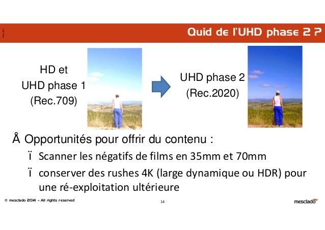 © mesclado 2014 – All rights reserved Pres1401 Quid de l'UHD phase 2 ? 14 HD et UHD phase 1 (Rec.709) UHD phase 2 (Rec.202...