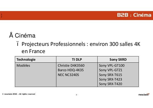 © mesclado 2014 – All rights reserved Pres1401 B2B : Cinéma • Cinéma – Projecteurs Professionnels : environ 300 salles 4K ...