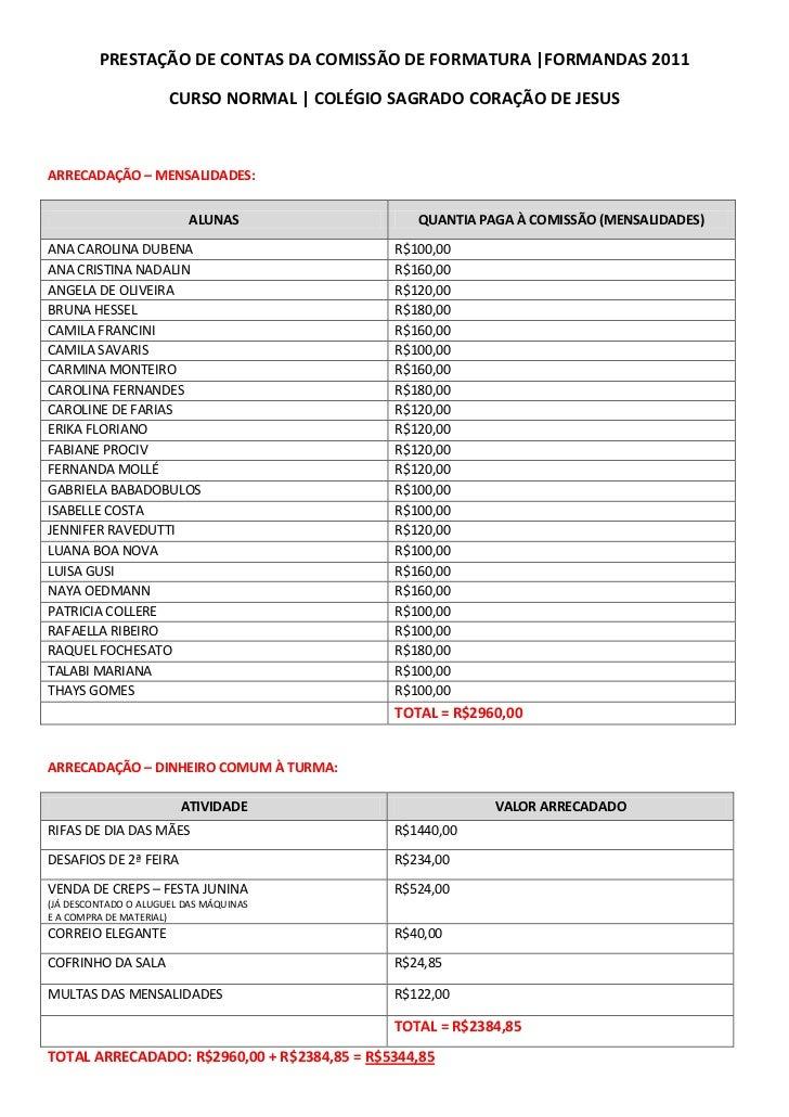 PRESTAÇÃO DE CONTAS DA COMISSÃO DE FORMATURA |FORMANDAS 2011                      CURSO NORMAL | COLÉGIO SAGRADO CORAÇÃO D...