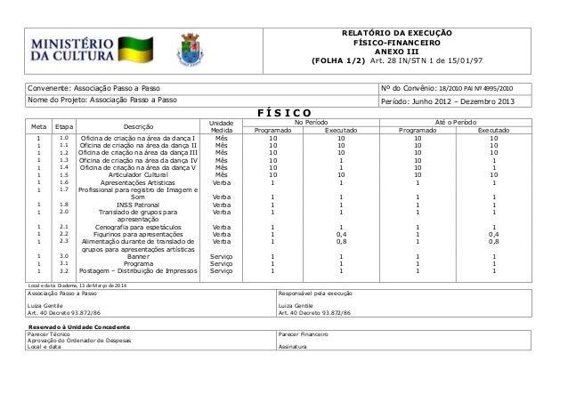 RELATÓRIO DA EXECUÇÃO FÍSICO-FINANCEIRO ANEXO III (FOLHA 1/2) Art. 28 IN/STN 1 de 15/01/97 Convenente: Associação Passo a ...