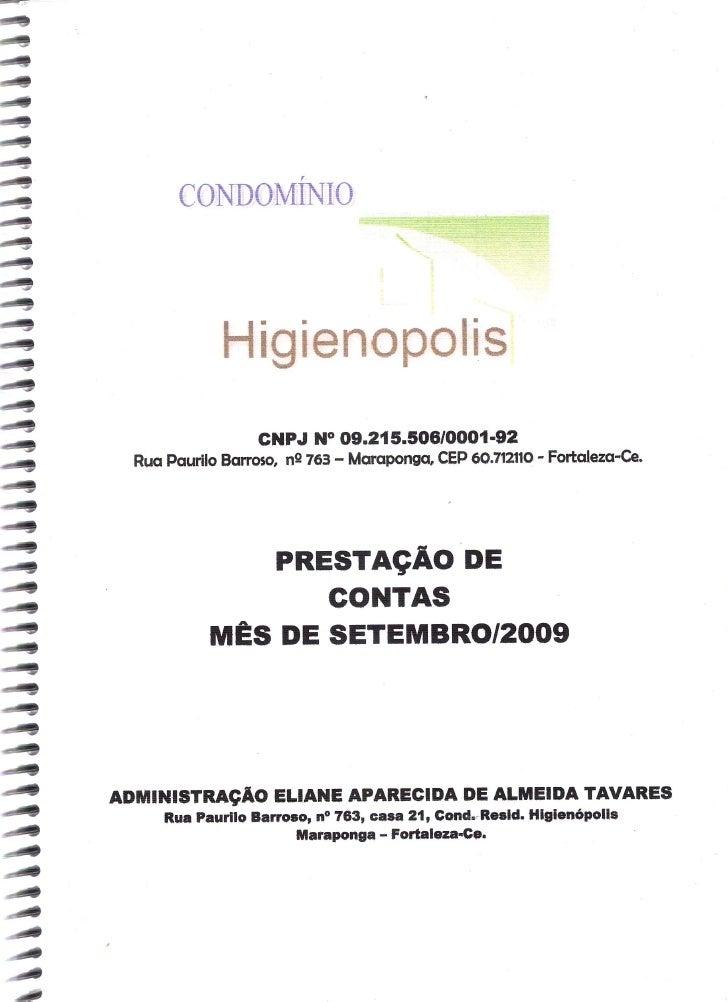 Prestação de Contas - Setembro 2009