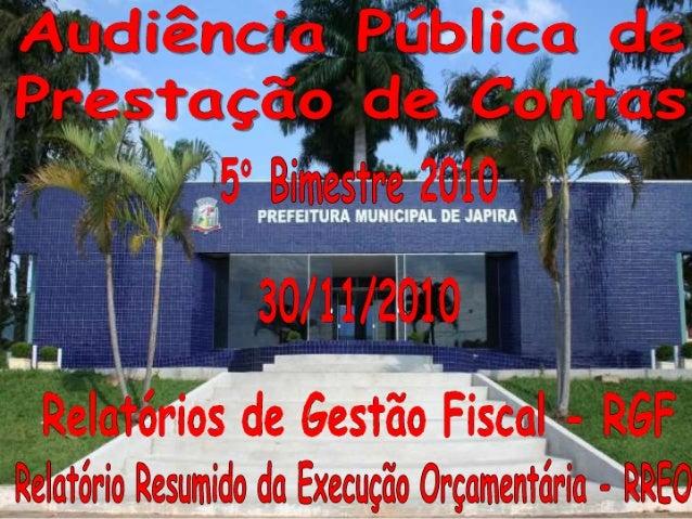 Prestação de contas 5º  bimestre 2010