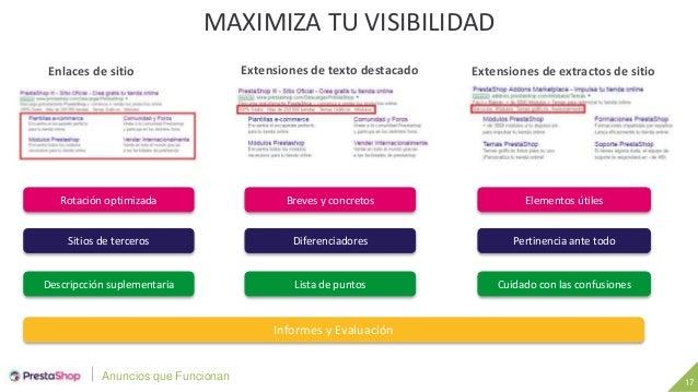 Anuncios que Funcionan 17 MAXIMIZA TU VISIBILIDAD Enlaces de sitio Extensiones de texto destacado Extensiones de extractos...