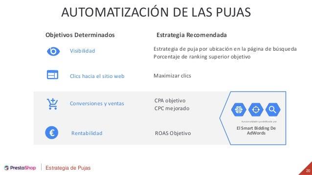 Estrategia de Pujas 20 AUTOMATIZACIÓN DE LAS PUJAS El Smart Bidding De AdWords Funcionalidades posibilitadas por Objetivos...