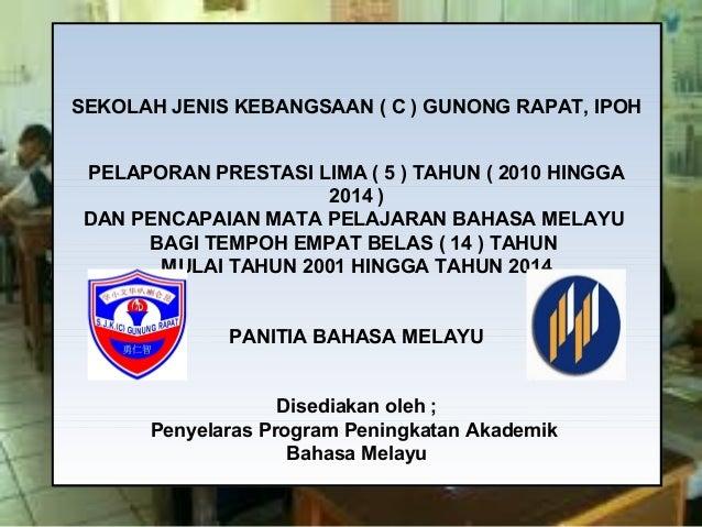 SEKOLAH JENIS KEBANGSAAN ( C ) GUNONG RAPAT, IPOH PELAPORAN PRESTASI LIMA ( 5 ) TAHUN ( 2010 HINGGA 2014 ) DAN PENCAPAIAN ...