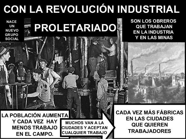CON LA REVOLUCIÓN INDUSTRIAL  NACE                                     SON LOS OBREROS   UN NUEVO GRUPO           PROLETAR...