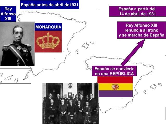 España antes de abril de1931 MONARQUÍA Rey Alfonso XIII España a partir del 14 de abril de 1931 Rey Alfonso XIII renuncia ...
