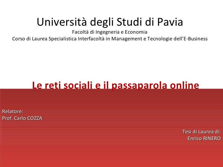Università degli Studi di Pavia                                Facoltà di Ingegneria e Economia     Corso di Laurea Specia...