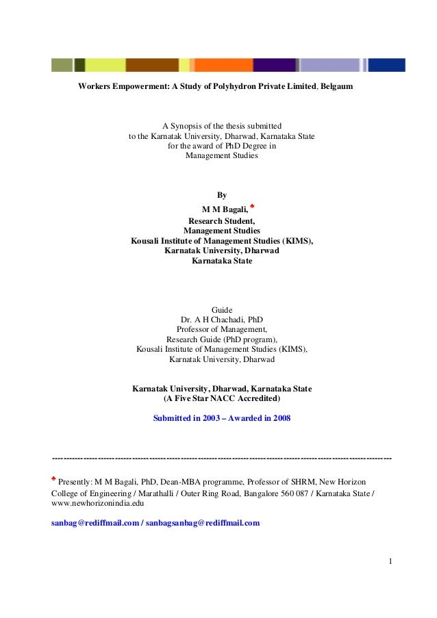 1Workers Empowerment: A Study of Polyhydron Private Limited, BelgaumA Synopsis of the thesis submittedto the Karnatak Univ...