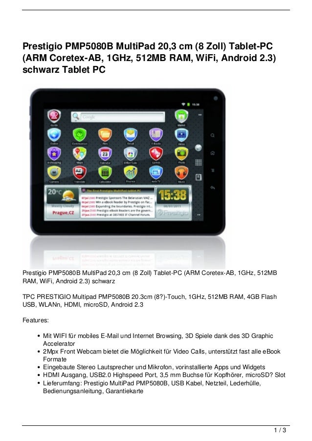 Prestigio PMP5080B MultiPad 20,3 cm (8 Zoll) Tablet-PC(ARM Coretex-AB, 1GHz, 512MB RAM, WiFi, Android 2.3)schwarz Tablet P...