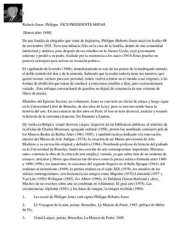 1 Roberts-Jones, Philippe, VICE PRESIDENTE MIPAH [Baron after 1988] De una familia de abogados que viene de Inglaterra, Ph...