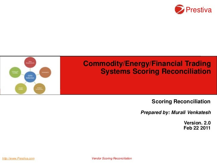 Commodity/Energy/Financial Trading Systems Scoring Reconciliation <br />Scoring Reconciliation<br />Prepared by: Murali Ve...