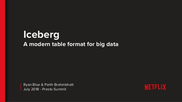 Iceberg A modern table format for big data Ryan Blue & Parth Brahmbhatt July 2018 - Presto Summit