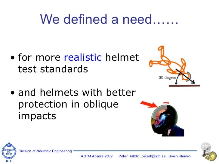 We defined a need…… <ul><li>for more  realistic  helmet test standards </li></ul><ul><li>and helmets with better protectio...