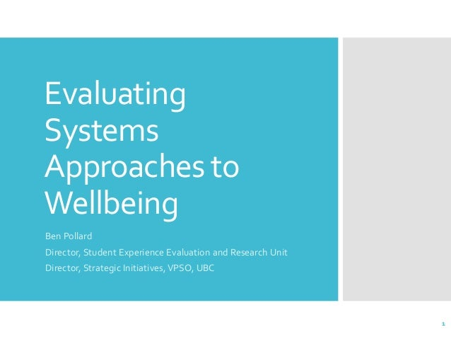 Evaluating Systems Approaches to Wellbeing Ben Pollard Director, Student Experience Evaluation and Research Unit Director,...