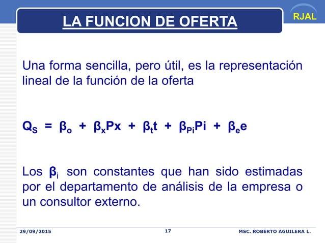 RJAL 29/09/2015 MSC. ROBERTO AGUILERA L.17 Una forma sencilla, pero útil, es la representación lineal de la función de la ...