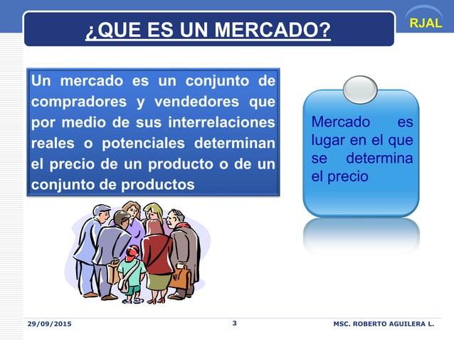 RJAL 29/09/2015 MSC. ROBERTO AGUILERA L.3 Mercado es lugar en el que se determina el precio ¿QUE ES UN MERCADO?