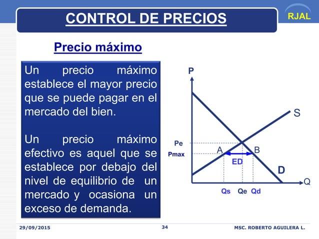 RJAL 29/09/2015 MSC. ROBERTO AGUILERA L.34 CONTROL DE PRECIOS Precio máximo Un precio máximo establece el mayor precio que...