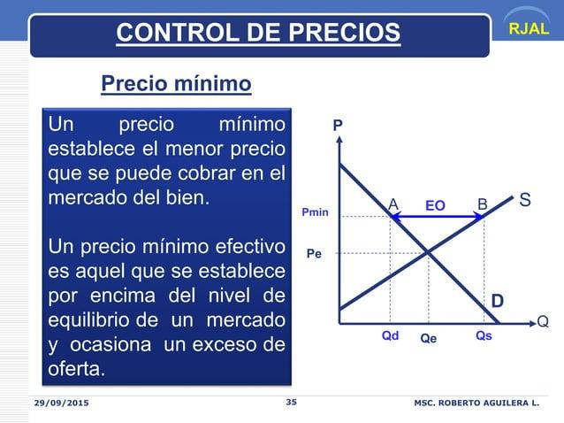 RJAL 29/09/2015 MSC. ROBERTO AGUILERA L.35 Precio mínimo Un precio mínimo establece el menor precio que se puede cobrar en...