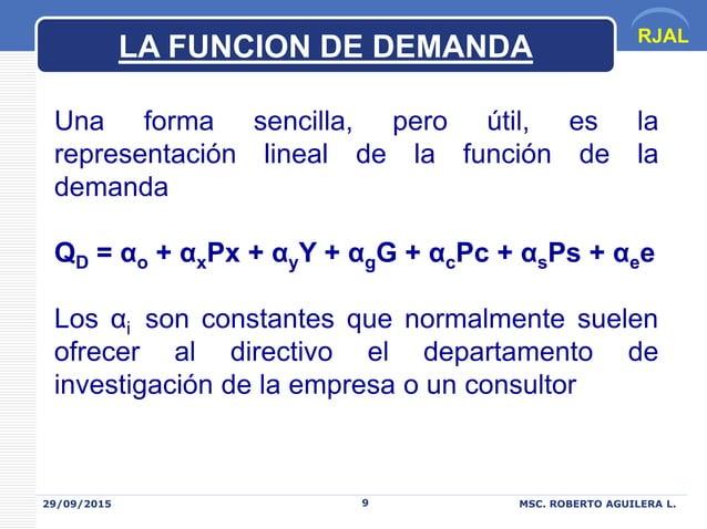RJAL 29/09/2015 MSC. ROBERTO AGUILERA L.9 Una forma sencilla, pero útil, es la representación lineal de la función de la d...