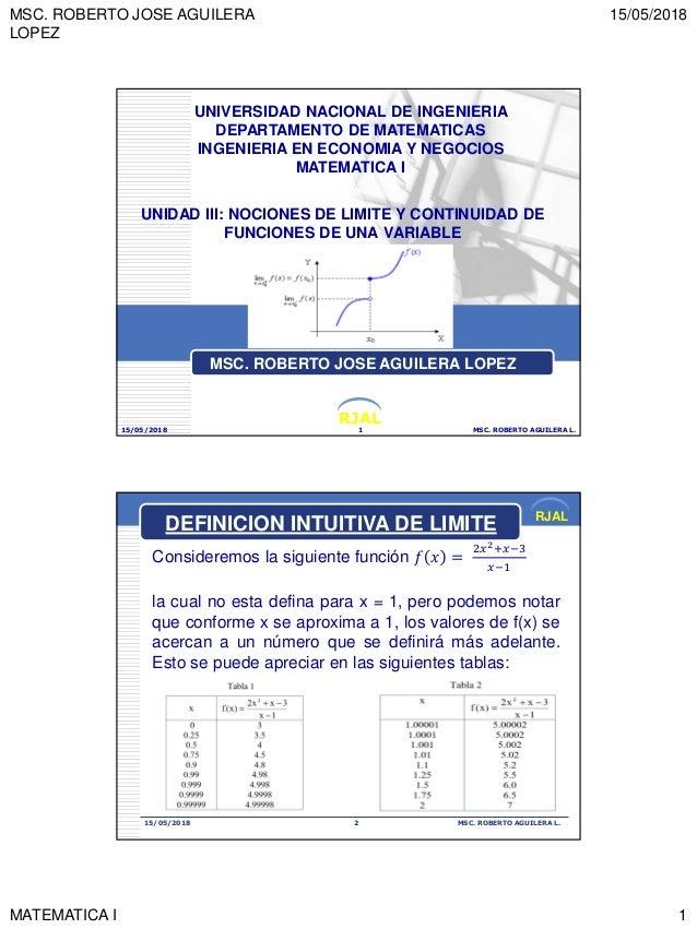 MSC. ROBERTO JOSE AGUILERA LOPEZ 15/05/2018 MATEMATICA I 1 RJAL UNIDAD III: NOCIONES DE LIMITE Y CONTINUIDAD DE FUNCIONES ...
