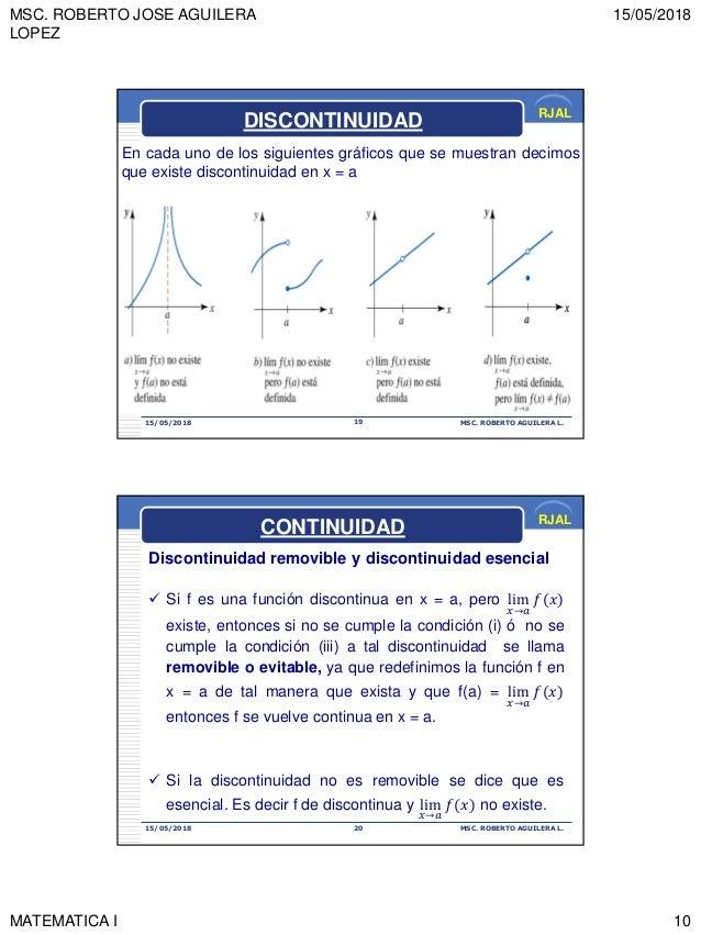 MSC. ROBERTO JOSE AGUILERA LOPEZ 15/05/2018 MATEMATICA I 10 RJAL 15/05/2018 MSC. ROBERTO AGUILERA L.19 DISCONTINUIDAD En c...
