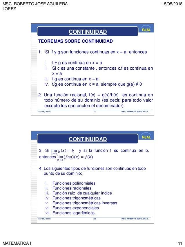 MSC. ROBERTO JOSE AGUILERA LOPEZ 15/05/2018 MATEMATICA I 11 RJAL 15/05/2018 MSC. ROBERTO AGUILERA L.21 TEOREMAS SOBRE CONT...