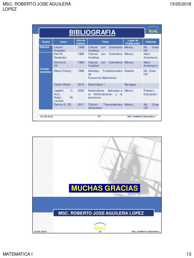 MSC. ROBERTO JOSE AGUILERA LOPEZ 15/05/2018 MATEMATICA I 13 RJAL 15/05/2018 MSC. ROBERTO AGUILERA L.25 BIBLIOGRAFIA Textos...