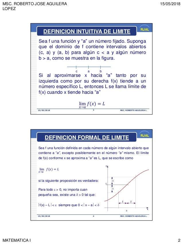 """MSC. ROBERTO JOSE AGUILERA LOPEZ 15/05/2018 MATEMATICA I 2 RJAL 15/05/2018 MSC. ROBERTO AGUILERA L.3 Sea f una función y """"..."""