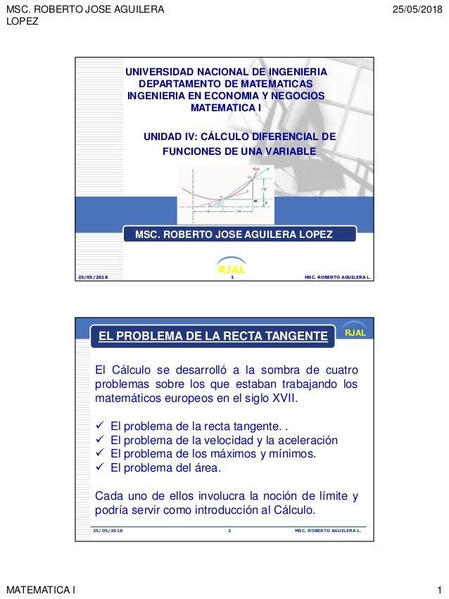 MSC. ROBERTO JOSE AGUILERA LOPEZ 25/05/2018 MATEMATICA I 1 RJAL UNIDAD IV: CÁLCULO DIFERENCIAL DE FUNCIONES DE UNA VARIABL...