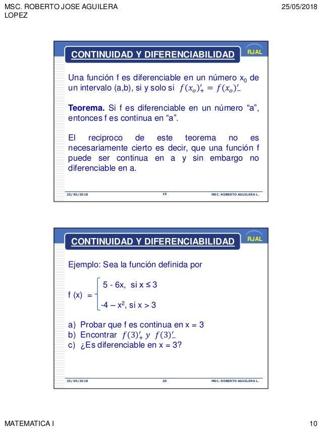 MSC. ROBERTO JOSE AGUILERA LOPEZ 25/05/2018 MATEMATICA I 10 RJAL 25/05/2018 MSC. ROBERTO AGUILERA L.19 Una función f es di...