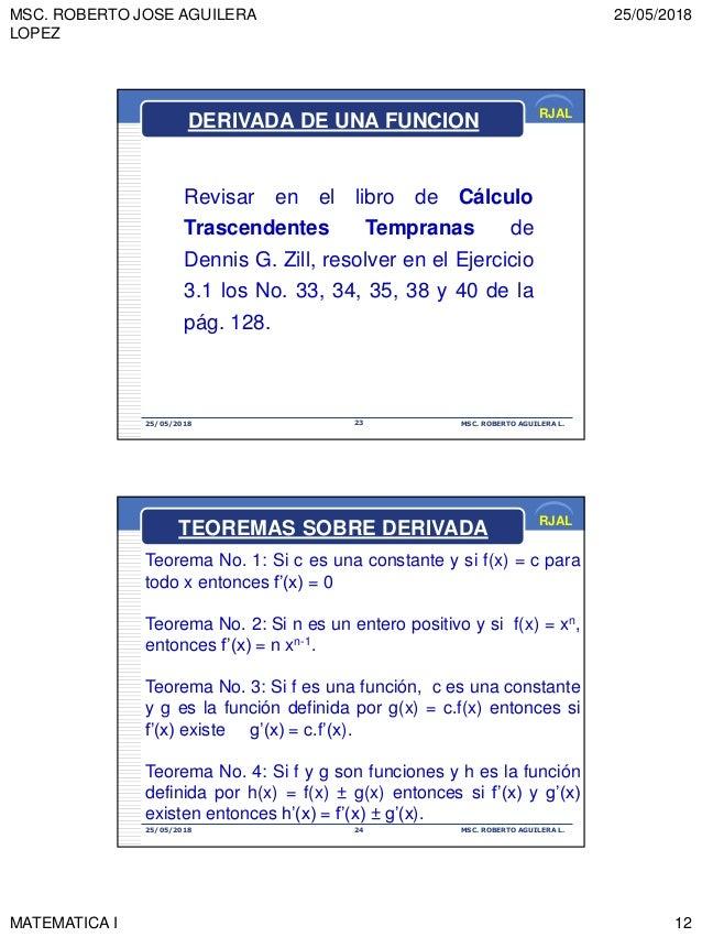 MSC. ROBERTO JOSE AGUILERA LOPEZ 25/05/2018 MATEMATICA I 12 RJAL 25/05/2018 MSC. ROBERTO AGUILERA L.23 DERIVADA DE UNA FUN...