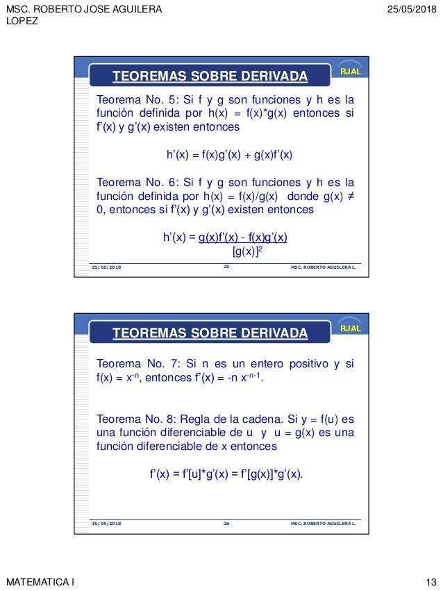 MSC. ROBERTO JOSE AGUILERA LOPEZ 25/05/2018 MATEMATICA I 13 RJAL 25/05/2018 MSC. ROBERTO AGUILERA L.25 Teorema No. 5: Si f...