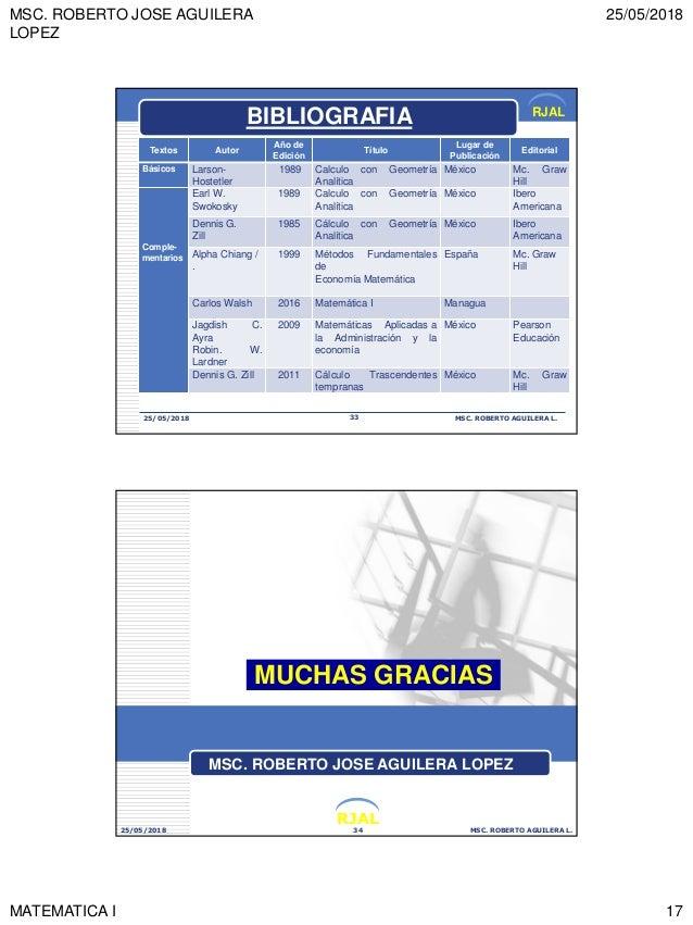 MSC. ROBERTO JOSE AGUILERA LOPEZ 25/05/2018 MATEMATICA I 17 RJAL 25/05/2018 MSC. ROBERTO AGUILERA L.33 BIBLIOGRAFIA Textos...