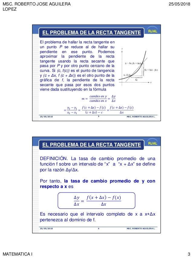 MSC. ROBERTO JOSE AGUILERA LOPEZ 25/05/2018 MATEMATICA I 3 RJAL 25/05/2018 MSC. ROBERTO AGUILERA L.5 El problema de hallar...