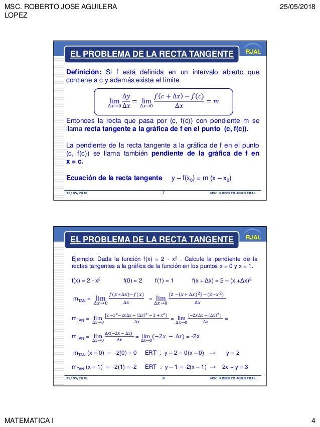 MSC. ROBERTO JOSE AGUILERA LOPEZ 25/05/2018 MATEMATICA I 4 RJAL 25/05/2018 MSC. ROBERTO AGUILERA L.7 Definición: Si f está...